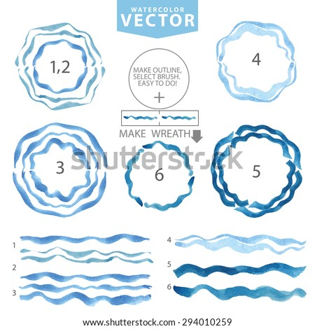 Watercolor hand painting texture.Blue wavy brushes ,circle frame,wreath set.Summer background.Bright cyan design template.Vintage blur vector .Holiday,vacation artistic  water stamp. - stock vector