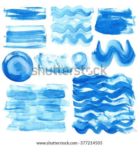 Watercolor hand painting textures.Stains,drops spot,blue wavy brushes,cyan color borders set.Vector Bright design template.Vintage blur,summer background.Holiday,vacation artistic texture,sea ,water - stock vector