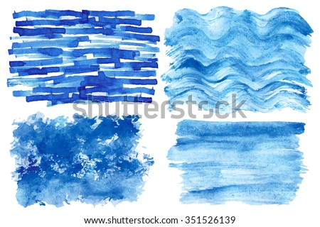 Watercolor hand painting textures.Stains,spot drops,splashes set. Light blue,cyan,color design template.Vintage blur vector,summer background.Holiday,vacation artistic texture,sea waves ,water,sky - stock vector