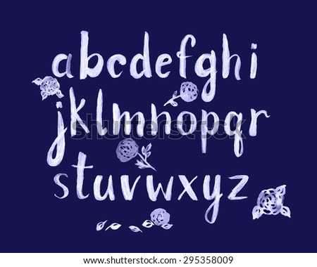 Watercolor hand written font isolated on white background. Vector illustration. - stock vector
