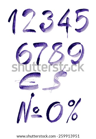 Watercolor hand written purple numbers, calligraphy, vector watercolor. - stock vector