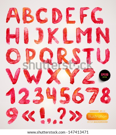 Watercolor handwritten alphabet. Numbers and symbols. Eps10 vector. - stock vector