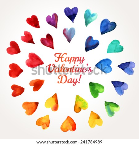 Watercolor Happy Valentines Day Hearts Cloud. Aquarelle Holiday Vector Design. Many Rainbow Painted Hearts. Romantic Bright Lovely Frame Design for Mothers Day. - stock vector
