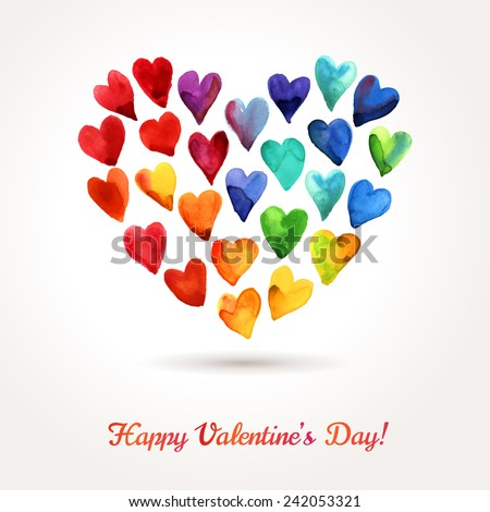 Watercolor Happy Valentines Day Hearts Cloud. Aquarelle Holiday Vector Design. Many Rainbow Painted Hearts Arranged in Form of Heart. Romantic Bright Lovely Design for Mothers Day. - stock vector