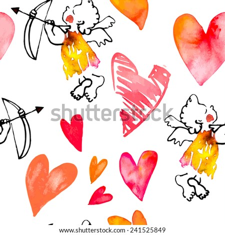 Watercolor heart. Valentine's Day. Vector. Pattern with hearts and cupids - stock vector