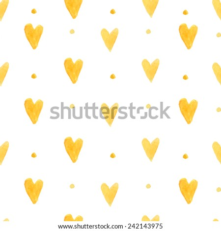 Watercolor hearts background. Seamless pattern with hand painted hearts. Vector backdrop for Valentine's day and wedding designs - stock vector
