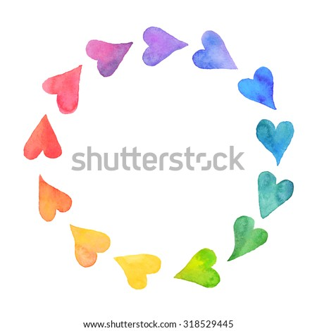 Watercolor hearts design element. Colorful  frame from watercolor hearts. Colorful watercolor romantic card template. Rainbow circle shape drawn with paints. - stock vector