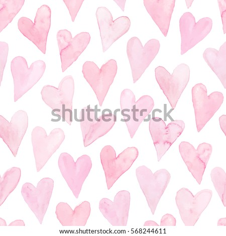 Watercolor hearts seamless background. Pink watercolor heart pattern. Colorful watercolor romantic texture.