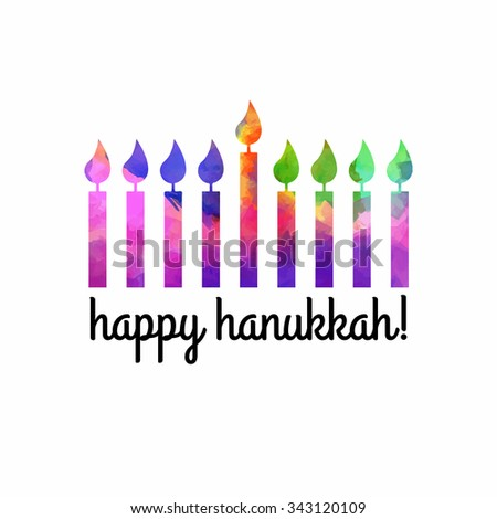 Watercolor holiday background. Happy Hanukkah. Vector hand drawn watercolor stains. Israel festival of light. Vector illustration. Colorful Watercolor Menorah.