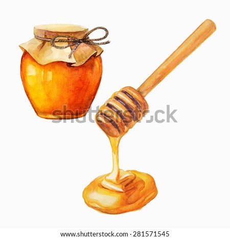 Watercolor Honey jar and honey stick over white, Vector