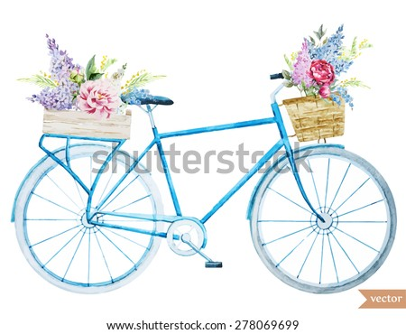 watercolor illustration of a bicycle with flowers, vector - stock vector