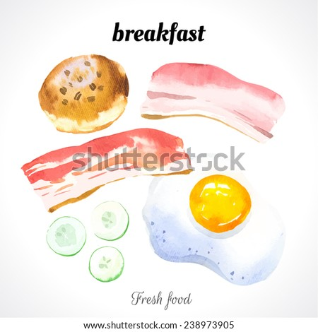 Watercolor illustration of a painting technique. Fresh organic food. Set meal for breakfast: scrambled eggs, biscuits, bacon and cucumber. - stock vector