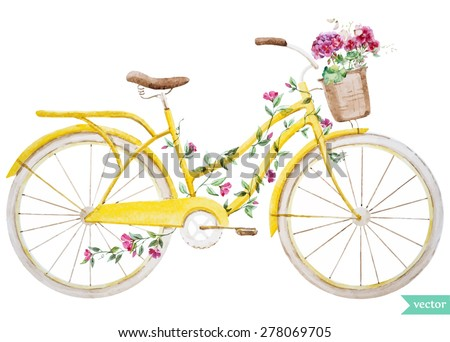 watercolor illustration of a yellow bicycle with flowers hydrangea - stock vector