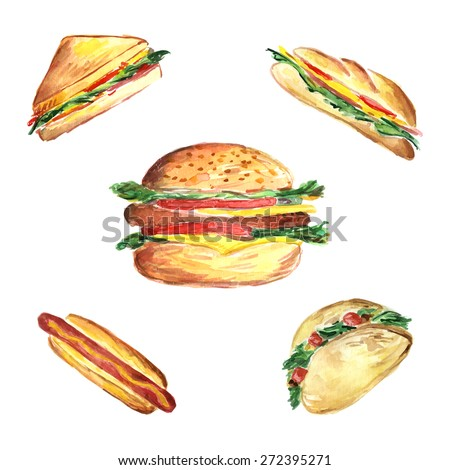 Watercolor illustration of fast food set with hamburger, hotdog,classic sandwich, panini sandwich and Mexican pita. Vector illustration - stock vector