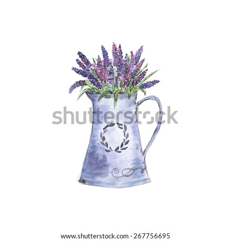 Watercolor illustration of lavender flowers in a pot.  Floral botanical art work for home decoration, organic shop. Natural flowers in retro style. French Provence style. Aroma herb for house. Vector - stock vector