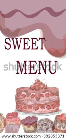 watercolor illustration of sweet menu. EPS10 - stock vector