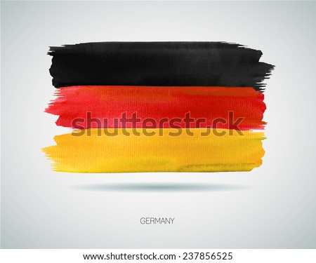 Watercolor illustration of the flag of Germany. Vector - stock vector