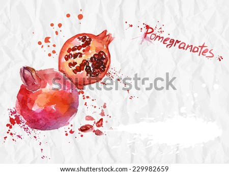 Watercolor illustration. Ripe pomegranate on crumpled paper background. - stock vector
