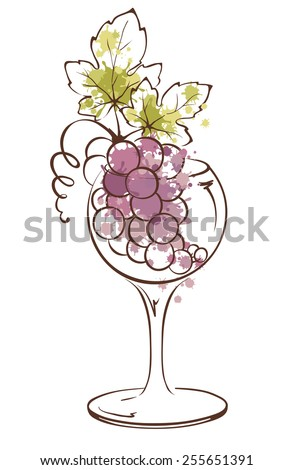 Watercolor illustration, vector -- bunch of grapes in wineglass - stock vector