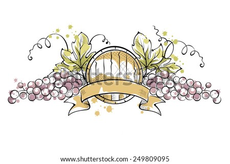 Watercolor illustration, vector -- grape with ribbon and wine cask - stock vector