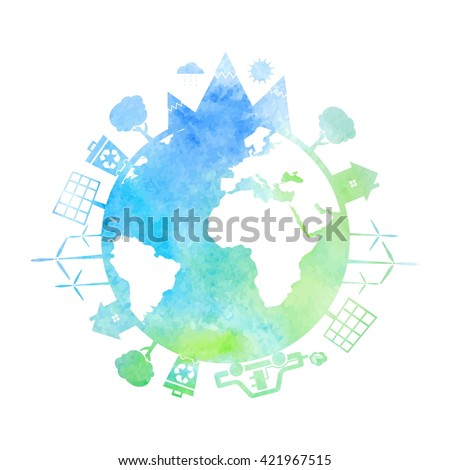 Watercolor illustrations of concept earth with icons of ecology, environment, green energy. Vector  - stock vector