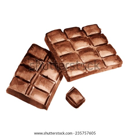 Watercolor image of pieces of chocolate on white background. Vector eps8 - stock vector