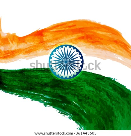 Watercolor indian flag stylish wave  design vector - stock vector