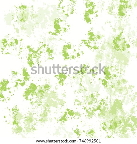 watercolor ink stain pattern in different shades of lime green on white background, vector illustration