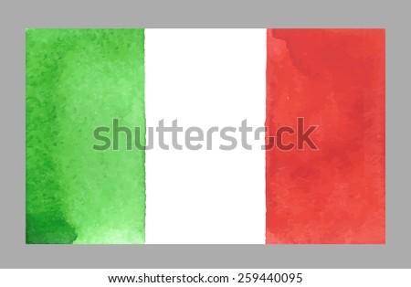 Watercolor Italian Flag. Vector EPS 10 - stock vector
