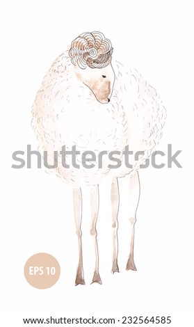watercolor lamb, sign of new year 2015, painting animal - stock vector