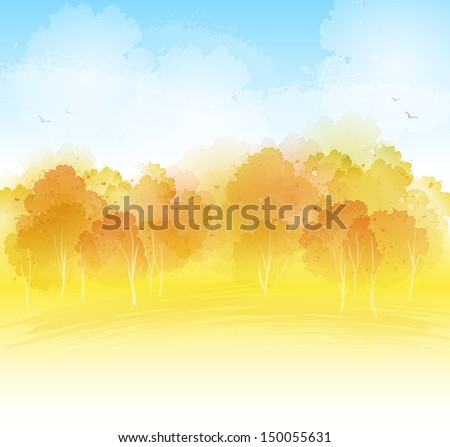 Watercolor landscape - stock vector
