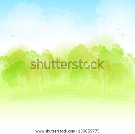 Watercolor landscape - stock vector
