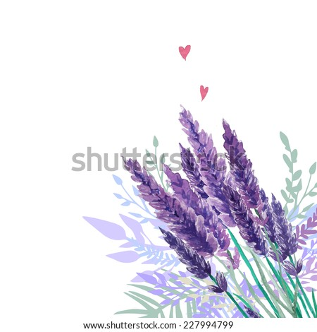 Watercolor lavender bouquet background. Frame with hand painted vintage plants, floral decor and hearts. Vector illustration. - stock vector