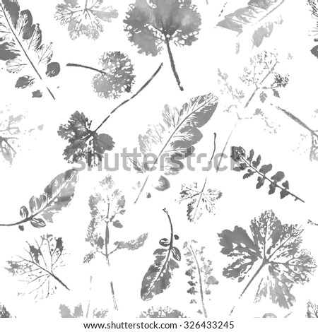 Watercolor leaves pattern. Autumn seamless background. Black and white illustration. handmade painted.  - stock vector