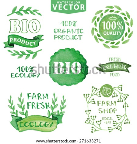 Watercolor logotypes set.Green branches,Badges, labels,ribbons,plants elements,wreaths and laurels.Organic,bio,ecology natural design template.Hand drawing painting.Vintage vector,green colors - stock vector