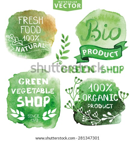 Watercolor logotypes set.Vector Green steins, branches silhouette, labels,plants elements,wreaths and laurels.Organic,bio,ecology natural design template.Hand drawing painting.Vintage sign - stock vector