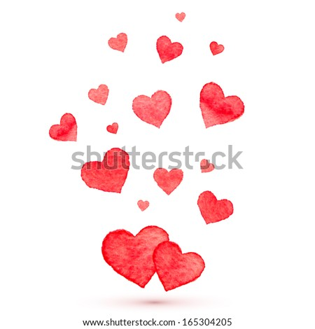 Watercolor lovely vector hearts - stock vector