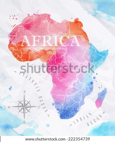 Watercolor map of Africa in vector format in pink and blue colors on a background of crumpled paper - stock vector