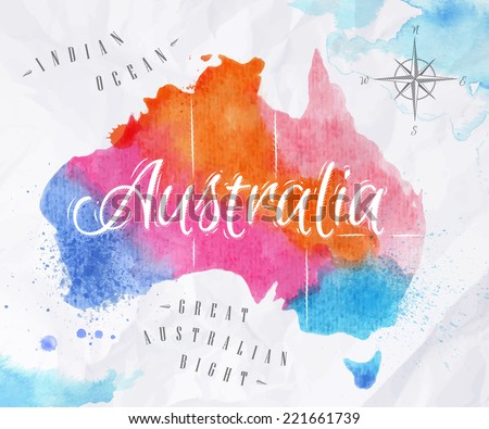 Watercolor map of Australia in vector format in pink and blue colors on a background of crumpled paper - stock vector
