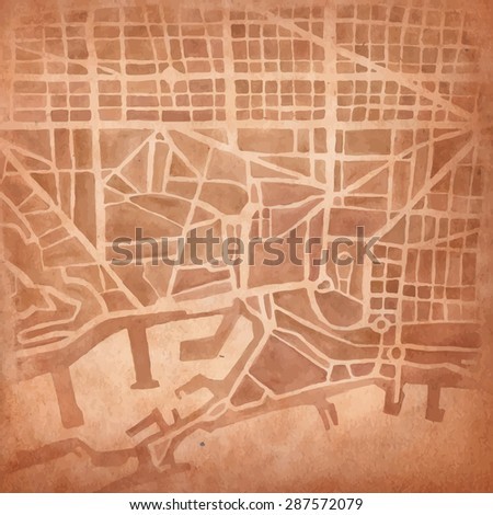 Watercolor map of the city on vintage background. - stock vector