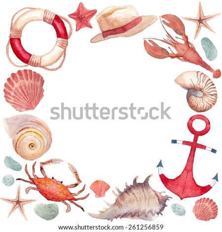Watercolor marine frame. Round frame with isolated hand painted nautical objects: starfish, sea shells, lifebuoy ring, anchor, lobster, crab, stones, summer hat. Vector nautical background - stock vector