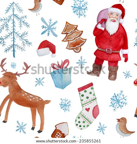 Watercolor Merry Christmas objects pattern. Hand drawn seamless texture with Santa Claus, xmas trees, cartoon deer, gifts, birds, snowflakes and Christmas socks. Vector background - stock vector