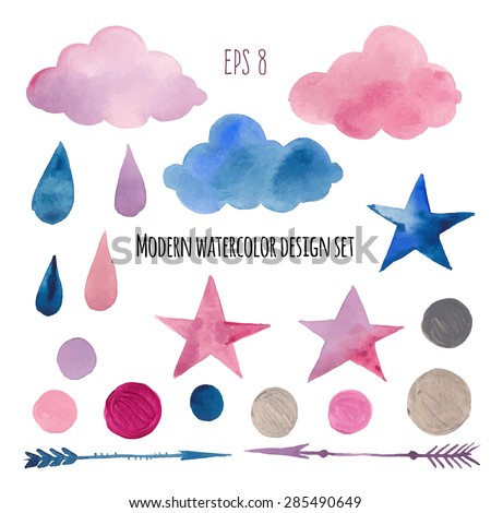 Watercolor modern abstract sticker set. Hand drawn decorative elements: stars, arrows, clouds, rain drops, confetti. Vector collection of party, kids room, printing design in pink, blue and silver - stock vector