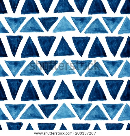 Watercolor modern pattern with blue triangles. Seamless pattern. Abstract background. Vector illustration. - stock vector