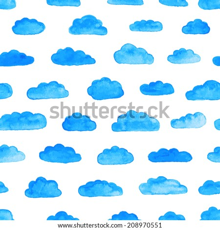 Watercolor modern pattern with clouds. Seamless pattern. Abstract background. Vector illustration. Watercolor blue clouds on the white background. - stock vector