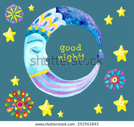 Watercolor Moon for children design, colorful illustration, Vector - stock vector
