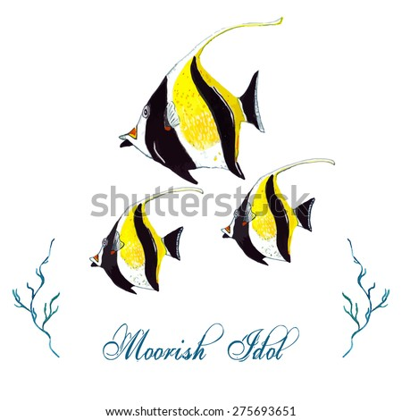 Watercolor Moorish Idol, isolated on white background. Tropical fish card, postcard & invitation. Elegant concept for Aquarium, Swimming Lessons, Diving courses & Eco Tourism. Element for your design. - stock vector