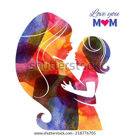 Watercolor mother silhouette with her baby. Card of Happy Mothers Day. Vector illustration with beautiful woman and child - stock vector