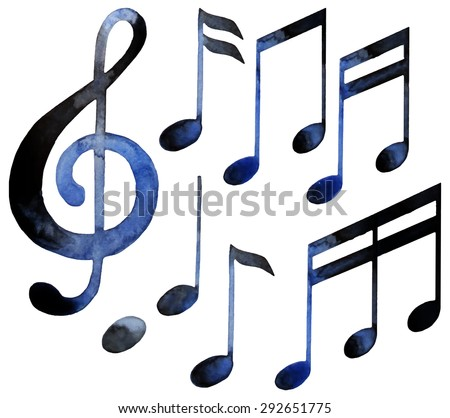 Watercolor musical notes. Vector design elements isolated on white background - stock vector