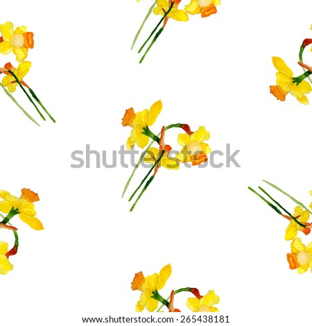 watercolor narcissus seamless pattern. painted by hand. - stock vector